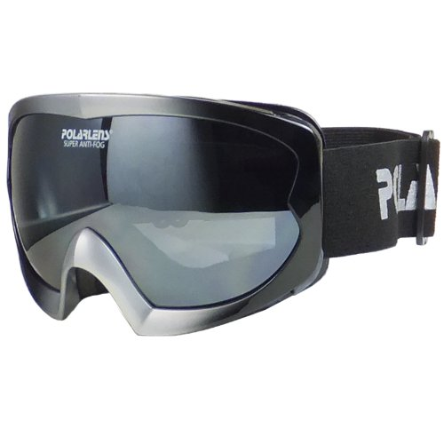 Polarlens PG38 Black with Silver Matte Frame Ski Goggles, Snowboarding Goggles, Winter Sports Goggles with a Double Panel Smoke FLASH MIRROR are Ultra Lightweight, Small Fit