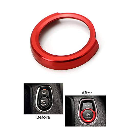 iJDMTOY Anodized Red Aluminum Keyless Engine Push Start Button Decoration Ring Trim For BMW 2 3 4 Series X1 (F22 F30 F32 F34 F48)