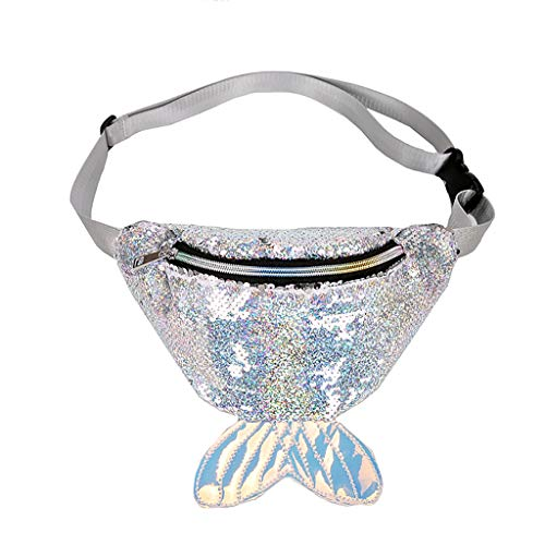 Unisex Fashion Mermaid Sequin Waist Bag Fanny Chest Bag Sport Bag Outdoor Travel Crossbody Bags Top-handle Handbags SIN+MON