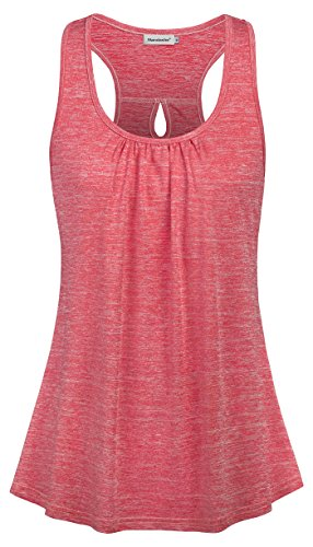 Knit Top Pattern Tank (Nandashe Loose Tank Tops for Women, Petite Cute Cowl Neck Ruffles Bohemia Style Stretch Simple Pattern Knit Ribbed Cool Flowing Lightweight Pullover Long Hippie T-Shirts Active Wear Light Red Large)