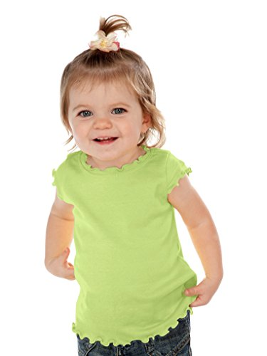 Kavio! Infants Lettuce Edge Scoop Neck Cap Sleeve Top Lime 24M