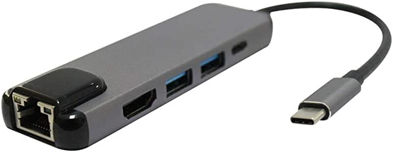 HUFAN USB3.1 Hub Type-C To HDMI + Gigabit Ethernet Port + 2 Port USB3.0 + PD Adapter Cable for Macbook Pro USB