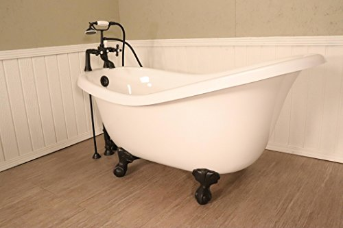 Ahqua – (Blem D) Whitney 60″ Slipper Bathtub with Aged Bronze Clawfoot and Deck Moun ...