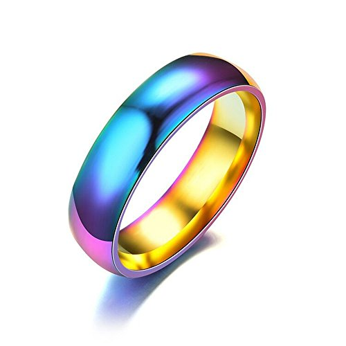 BELOVING 6mm Colorful Stainless Steel Rainbow Wedding Bands Rings for Women & Men (Rainbow Band)