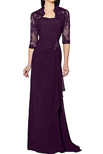 Spitze Damen Navy Ivydressing Jacke Lang Promkleider Elegant Chiffon mit Grape Brautmutterkleider Abendkleider qAtUxpUR