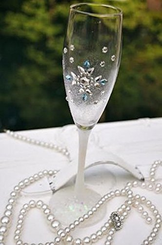 446964764e Amazon.com: Hand Painted Winter Wedding Crystal Champagne Flutes ...