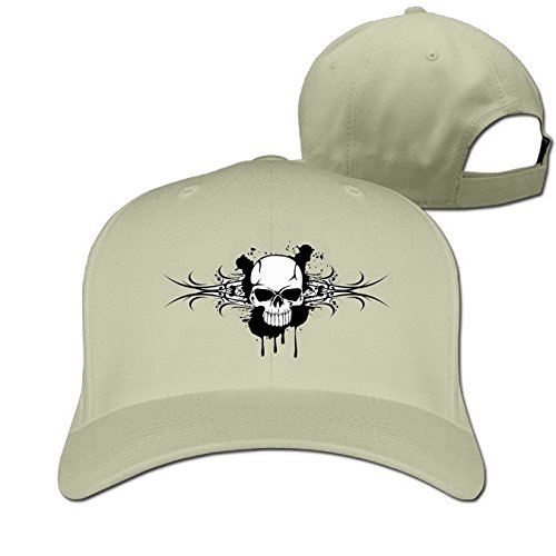 Unoopler Halloween Party Cool Skull Skeleton Adjustable Baseball Caps for Men Women Natural -