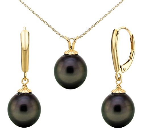 14k Yellow Gold 10-10.5mm Black Baroque Tahitian Cultured Pearl Pendant and Lever-back Earrings, 18'' by La Regis Jewelry