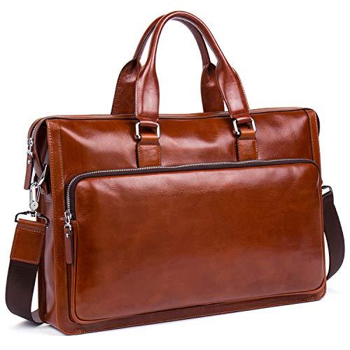 MANTOBRUCE Leather Briefcase Shoulder Laptop Business Vintage Simple bag 15