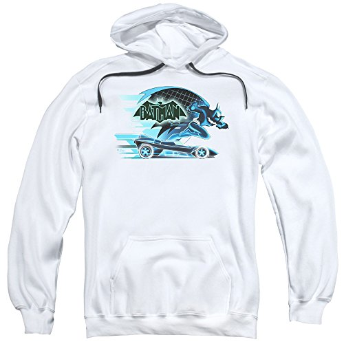 Trevco Men's Beware the Batman with Batmobile Adult Pull-Over Hoodie at Gotham City Store