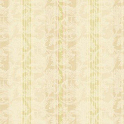 Acanthus Leaf Stripe - Wallpaper Designer Lime Green Pink & Beige Stripe on Cream Acanthus Leaf Scroll