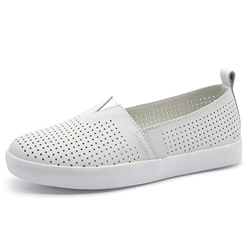 HKR Preforated Slip On Sneakers for Women Comfortable Nursing Shoes Nubuck Leather Loafers 6 US White(FY83287baise35)