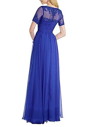 Braut Brautmutterkleider Gelb Kurzarm Lang Abschlussballkleider mit Abendkleider Chiffon Spitze mia Abiballkleider La SqI5P