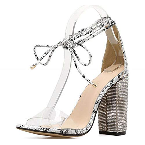 - Women High Heels Sandals Square Heels Crystal Heeled Shoes Ladies Wedding Lace Up Shoes,Serpent,6