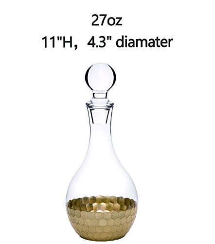 Whiskey Decanter Wine Carafe, Gold Plated Premium Glassware Hand Crafted Drinkware, Christmas Thanksgiving Holiday Party Gift for her