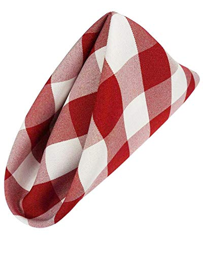 AGN Elegant Linen Checkered Polyester Napkins Set of 12 (18x18) (White-Red) ()