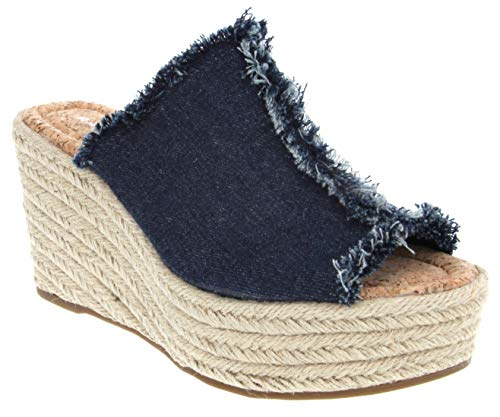 (Rampage Women's Halper Slide On Espadrille Platform Wedge Sandal 9 Dark Denim)
