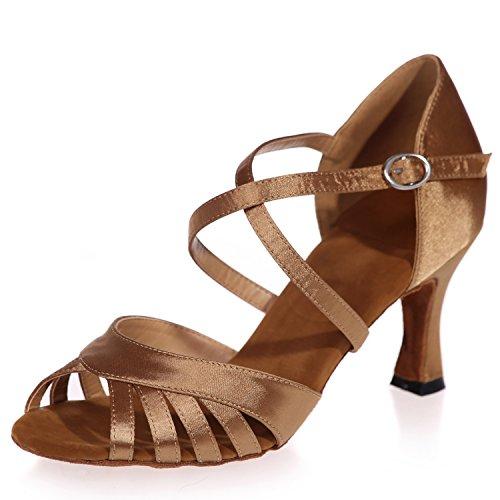 Elobaby Zapatos De Baile para Mujer Satin Performance Plataforma De Punta Latina Peep Toe / 7.5cm TalóN/Vestido Brown