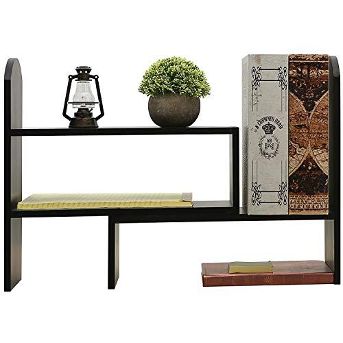(Adjustable Wood Office Desktop Organizer Display Shelf, Tabletop Bookcase, Black)