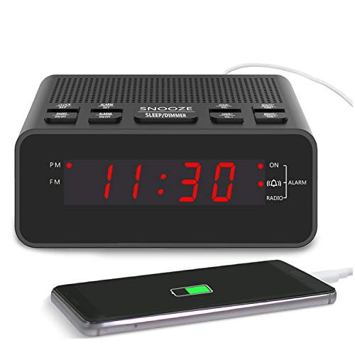 Clock Radio, Digital FM Bedside Alarm Clocks Radio with USB Charger Port for Bedrooms or Livingroom