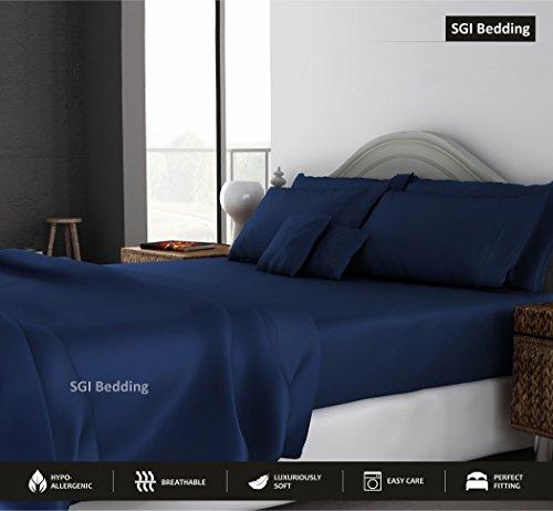 Queen Sheets Luxury Soft 100% Egyptian Cotton - Sheet Set for Queen Mattress Navy Blue Solid 15