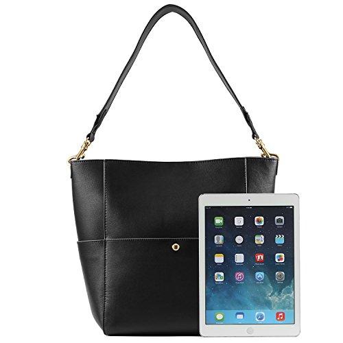 Kattee Black Leather Hobo Bag Tote Handbag Cowhide Shoulder Women's 8fApx8