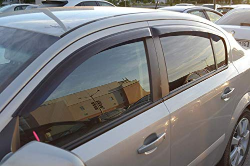 Dark Smoke Window Air Guard Deflectors for Protection Against Snow Sun and Rain Compatible with Opel Astra H Sd 5d 2007-2015 CT Wind Visor Deflectors Set of 4-Piece Car Ventvisor Door Side