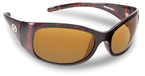 Amber Glass Tortoise Shiny (Flying Fisherman Madrid Ladies Polarized Sunglasses (Shiny Tortoise Frame, Amber Lenses))