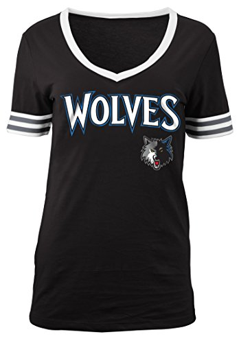 - 5th & Ocean NBA Minnesota Timberwolves Adult Women Ladies Baby Jersey Short Sleeve V Neck with Chenille Applique,S,Black