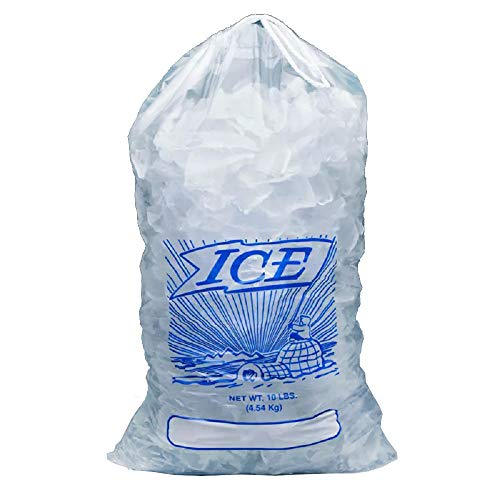 APQ Pack of 500 Printed Metallocene Ice Bags 10 lb, 12 x 19. Polyethylene Bags with Drawstring Closure 12x19. FDA Approved, 1.35 Mil Thick. Ideal for Industrial, Food Service, Healthcare Applications from APQ Supply