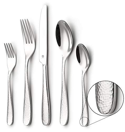 DANIALLI 40-Piece Flatware Set For 8, Modern Hammered Design Silverware Set, 18 10 Stainless Steel Utensils, Include Knife/Fork/Spoon, Mirror Polished Set of Cutlery, Dishwasher Safe