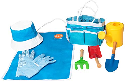 (Big Little Kids Complete Garden Set Toy for Kids, Toddlers, Tikes | Gardening Tool Set Perfect for Outdoors, Backyard, Lawn with Shovel, Rake, Gardening Gloves, Tote Bag, Apron, Plastic Water Can)