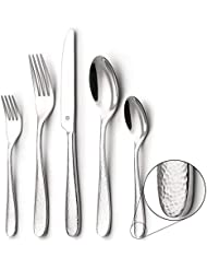 DANIALLI 30-Piece Flatware Set For 6, Modern Hammered Design Silverware Set, 18