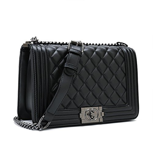 Belle Vannes Women's Leather Quilted Chain Shoulder Bags Crossbody Handbags Black