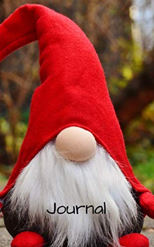 """Journal: 5""""x 8"""" 126 page lined soft covered journal,notebook, diary with  """" gnome with a big red hat and white beard   """" on a matte cover"""