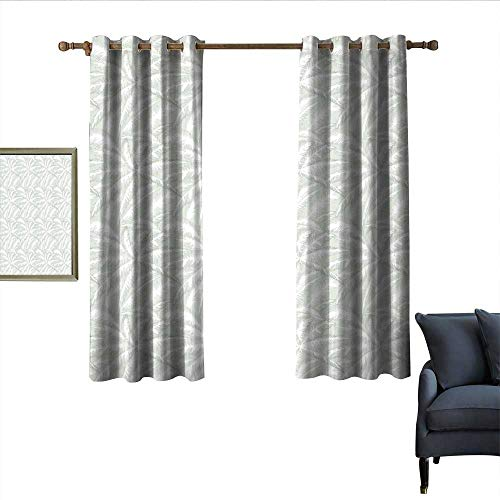longbuyer Palm Tree Sliding Curtains Abstract Leafage of Exotic Beach Trees with Pastel Artistic Display Noise Reducing 55
