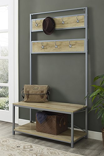 WE Furniture Industrial Metal and Wood Hall Tree in White Oak - (Entry Shoe Storage)