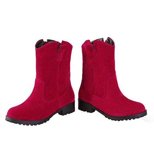 ENMAYER Frauen Nubuck Leder Runde Toe Mid-Kalb Plattform Fest Winter Chelsea Stiefel Rot