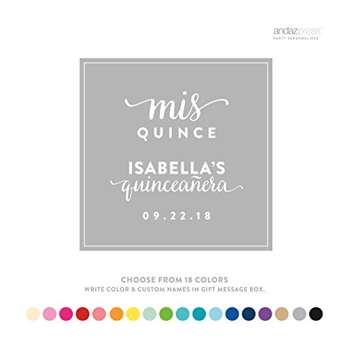 Andaz Press Personalized Square Labels, Birthday, Sweet 15, Mis Quince Quinceanera, 40-Pack - Custom Made Any Name, -
