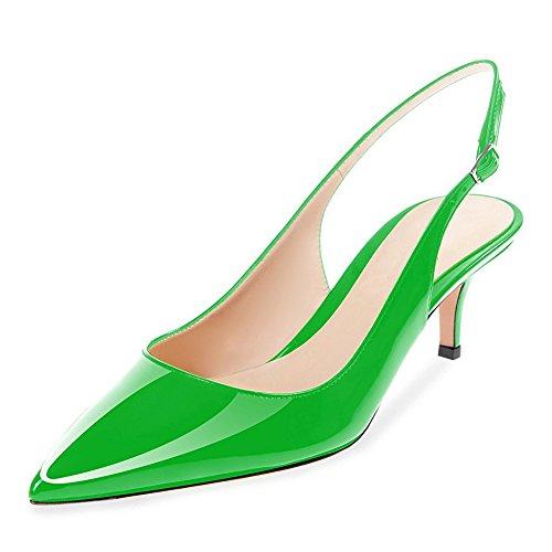 Heel Dress Pumps Wedding Green Shoes Heel Low Slingback Kitten Women Leather Patent Party UMEXI SZwfqzt4