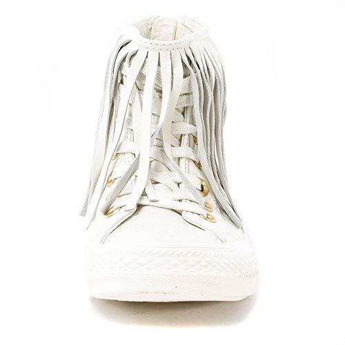 Converse All Star Fringe Femme Baskets Mode Blanc Blanc - Egret/Egret/Egret