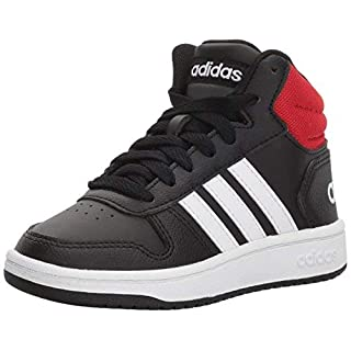 adidas unisex child Hoops Mid 2.0 Basketball Shoe, Black/White/Red, 11 Little Kid US