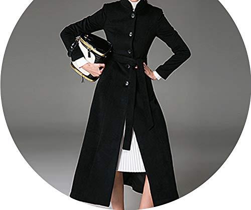 Dreamedge Womens Wool Coat Female Outerwear Mandarin Collar Winter Jacket Women Black Woolen Coat,Black,XXL