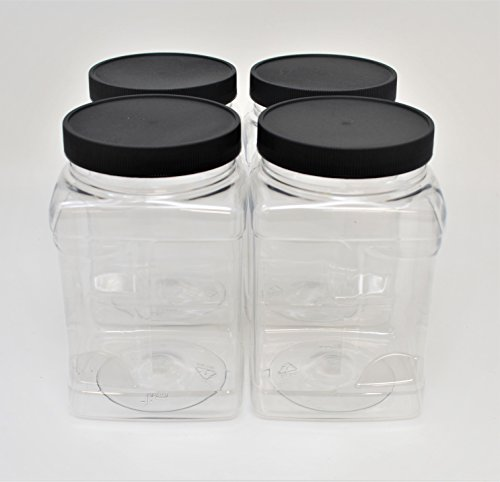 bf187a527cb1 SALUSWARE Plastic Jars Bottles Containers - PACK OF 4, 32 Oz with Black  Caps - Airtight Leak-proof Lids - Perfect for Kitchen, Pantry, Organizer -  ...