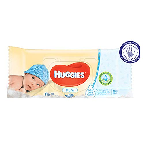 Huggies Pure Baby Wipes 56 Count (Pack of 3) 168 Wipes Total