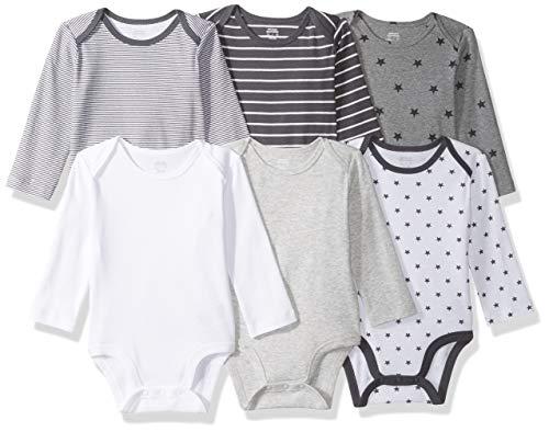 Amazon Essentials Baby 6-Pack Long-Sleeve Bodysuit, Uni Star Stripe Neutral, 18M