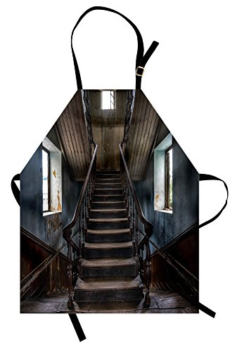 Scary Apron by Lunarable, Horror Movie Theme Classic Deserted Abandoned Home with Old Vintage Stairs Artwork, Unisex Kitchen Bib Apron with Adjustable Neck for Cooking Baking Gardening, Multicolor
