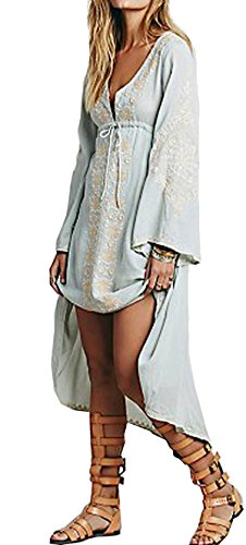 R.Vivimos Womens Cotton Embroidered High Low Long Dresses Medium Sky Blue (Black Long Sleeve Embroidered Lace Flare Dress)