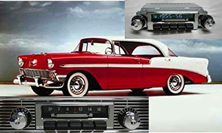 Custom Autosound Stereo compatible with 1955-1956 Bel Air, Nomad, One Fifty, Two Ten, 300 watt Slidebar AM FM Car Stereo/Radio ()