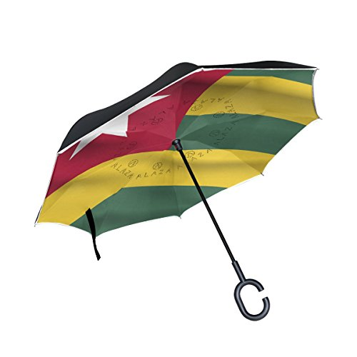 super3Dprinted Togo Flag Inverted Double Layer Umbrella Wate